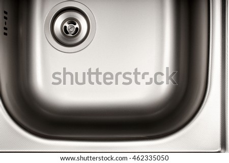close up shot of clean shiny steel sink.