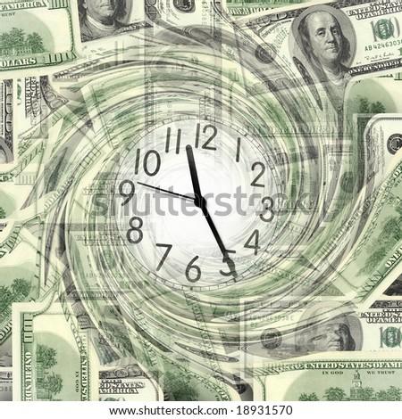 close up shot of  clock and money - stock photo