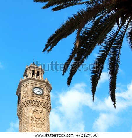 close up shot of clock tower in Izmir, Turkey