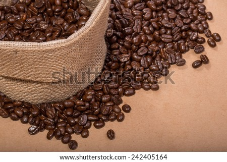 close up shot of Coffee Beans in a Bag - stock photo