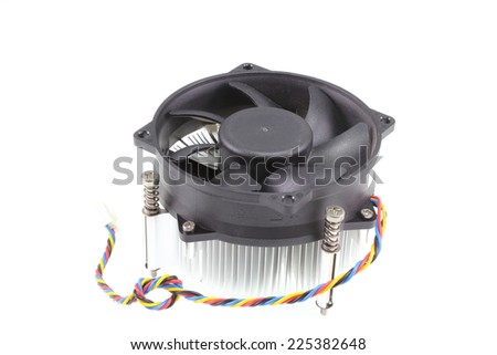 Close-up shot of computer CPU cooler  on white background - stock photo