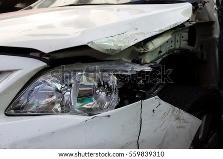 Close up shot of crashed car from accident. insurance claim car crash concept. drink and drive.