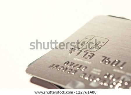 Close up shot of credit card - stock photo