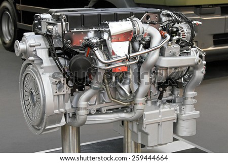 Close up shot of diesel truck engine - stock photo
