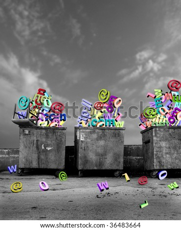 close up shot of dirty dumpsters with technological symbols - stock photo