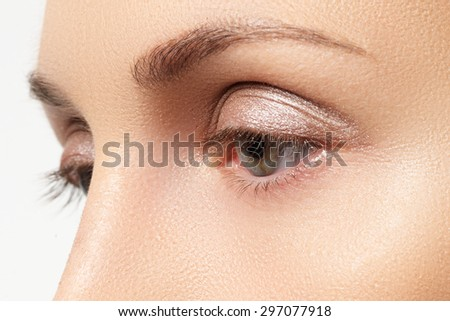 Close-up shot of female eyes make-up  - stock photo