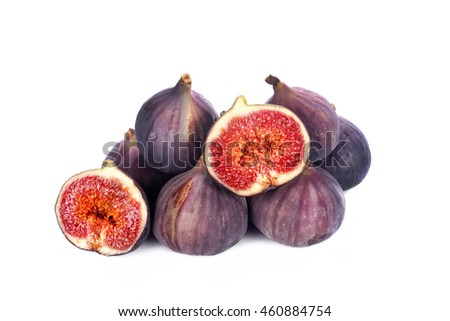 close up shot of figs isolated on white background.