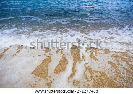 Close up shot of foamy waves - stock photo