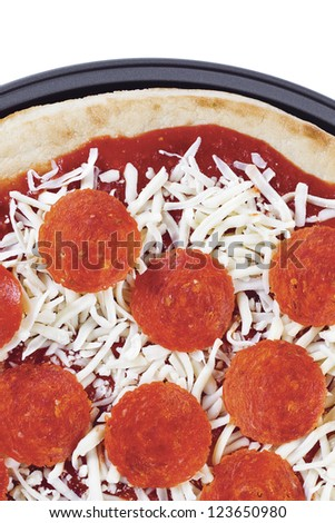 Close-up shot of fresh cheese and pepperoni pizza - stock photo