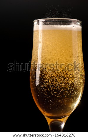 Close up shot of glass with wine - stock photo