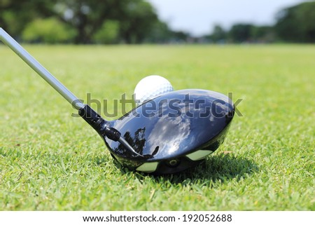close up shot of golfer ready to T- off - stock photo