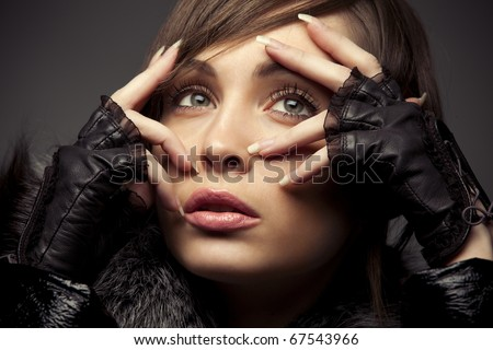close up shot of gorgeous Young Woman - stock photo