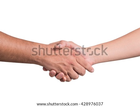 close up shot of handshake isolated on white background with clipping path