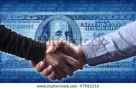 close up shot of handshake of a woman and a man