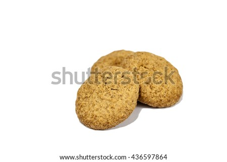 close up shot of  homemade whole meal cereal cookies made from whole wheat flour, vegetable oil, rice flour, corn flour,  rye flour and  fructo-oligosaccharides - stock photo