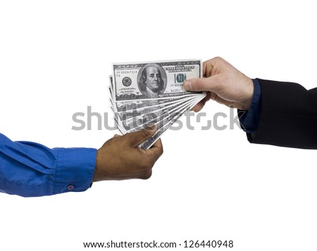 Close-up shot of human hand giving money to his friend. - stock photo