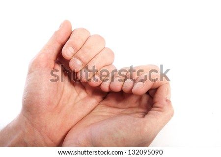 Close up shot of human hands over the white background