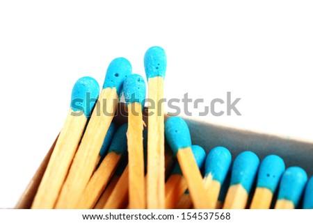 Close up shot of matches isolated on white background - stock photo