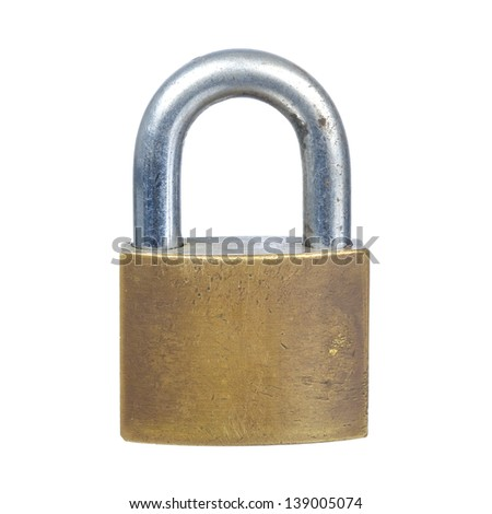 close up shot of old lock isolated on a white background - stock photo