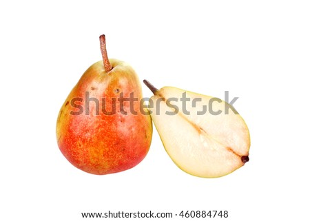 close up shot of pear isolated on white background.
