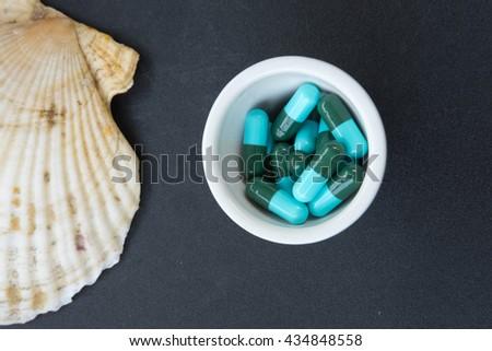Close up shot of pills - stock photo