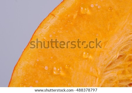 Close up shot of pumpkin slice.