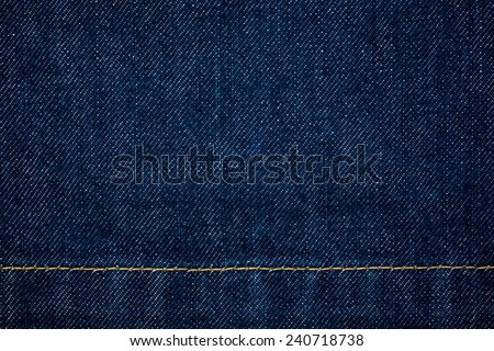 close up shot of raw denim dark wash indigo blue jeans texture background in square ratio - stock photo