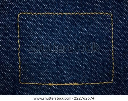 close up shot of raw denim indigo blue jeans texture background - stock photo