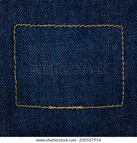 close up shot of raw denim indigo blue jeans texture background in square ratio - stock photo
