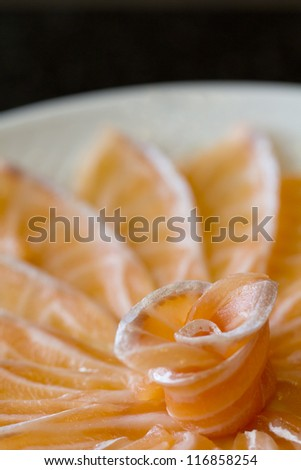 close up shot of salmon sashimi - stock photo