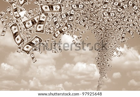 close up shot of several one American dollar and cloudy sky - stock photo