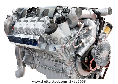 Close up shot of silver chrome engine - stock photo
