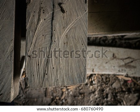 close up shot of square wood pile cut with strong texture ,surface ,rough