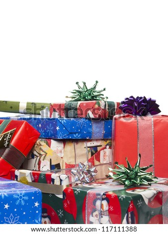 Close-up shot of stack of Christmas gift box against plain white background. - stock photo