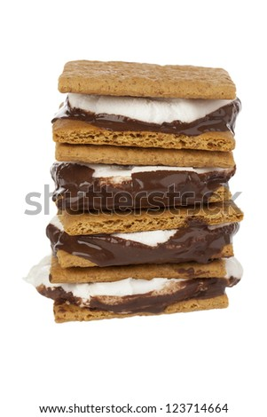 Close-up shot of stack of smore sandwich. - stock photo