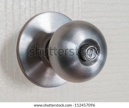 Close Up Shot Of Stainless Steel Round Ball Door Knob