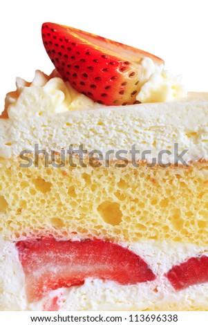 close up shot of strawberry short cake isolated on white backgrond (clipping path) - stock photo