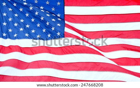 Close up shot of the flag of the United States of America - stock photo