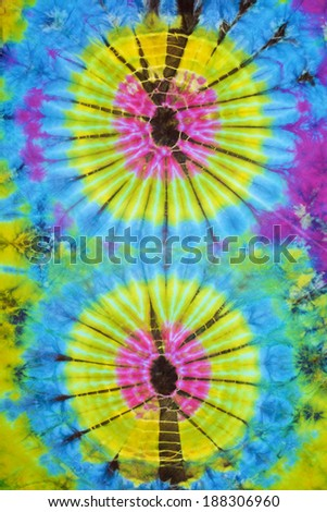 close up shot of tie dye fabric texture background - stock photo