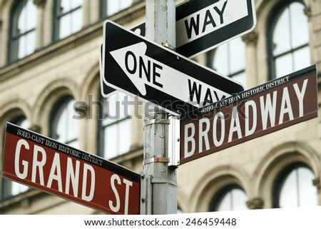 Close-up shot of traffic signs in New York city, USA. - stock photo