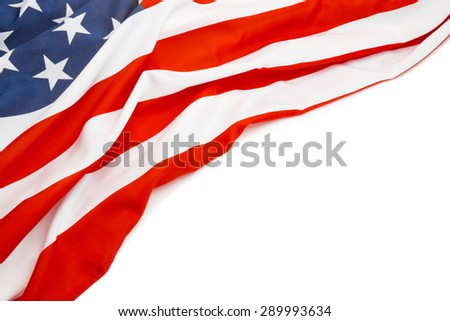 Close up shot of US flag with place for text - stock photo