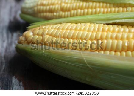 Close-Up Shot of Water Drop on Corn - stock photo
