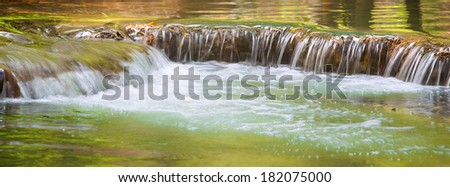 close up shot of waterfall for use as banner background - stock photo