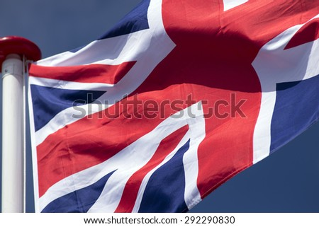 Close-up shot of wavy British flag - stock photo