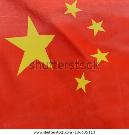 Close-up shot of wavy China flag.