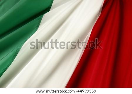 Close up shot of wavy Italian flag - stock photo