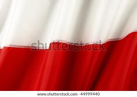 Close up shot of wavy Polish flag - stock photo