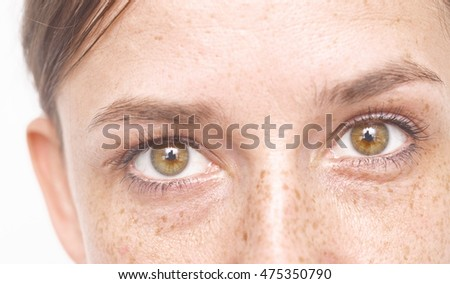 close up shot of woman eyes, freckles on face