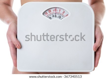 close up shot of woman holding scales shot in the studio on white background
