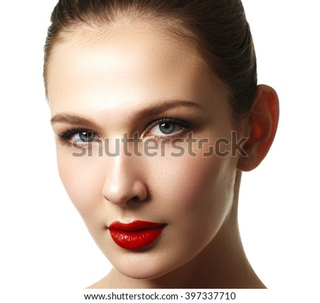 Close-up shot of woman lips with red lipstick. Beautiful perfect lips. Sexy mouth close up. Beautiful wide smile of young fresh woman with full lips. Isolated over white background - stock photo